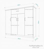 Tủ giầy nhựa 4 cánh 1 ngăn kéo TG08 - màu cafe trắng