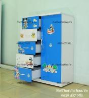 Tủ nhựa Đài Loan 1 cánh 5 ngăn T225 màu xanh