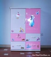 Tủ nhựa Đài Loan 2 cánh 4 ngăn T221 màu hồng trắng