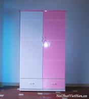 Tủ nhựa Đài Loan 2 cánh 2 ngăn C201 màu hồng trắng