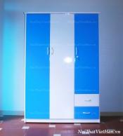 Tủ nhựa Đài Loan 3 cánh 2 ngăn C311 màu xanh trắng