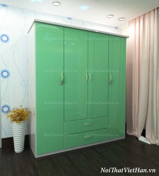 Tủ nhựa Đài Loan 4 cánh 2 ngăn C405 màu xanh cốm