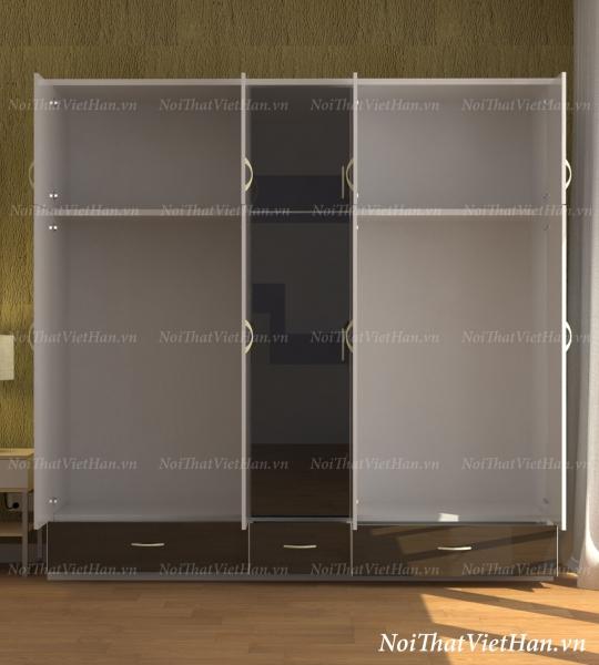 Tủ nhựa Đài Loan 5 cánh 3 ngăn C501 màu đen và trắng