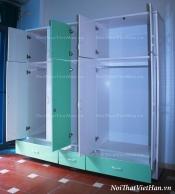 Tủ nhựa Đài Loan 5 cánh 3 ngăn C504 màu xanh trắng