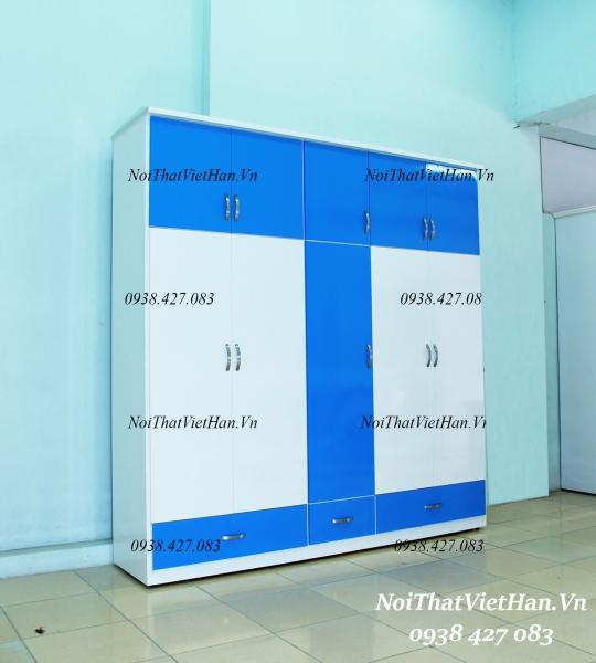 Tủ nhựa Đài Loan 10 cánh 3 ngăn C512 màu xanh dương trắng