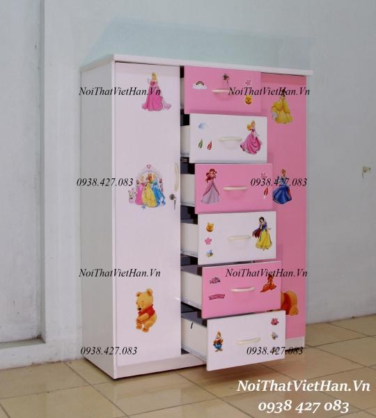 Tủ nhựa Đài Loan 2 cánh 6 ngăn T310 màu hồng trắng