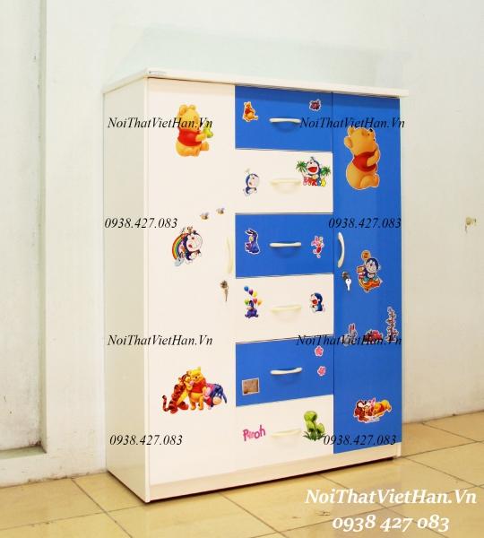 Tủ nhựa Đài Loan 2 cánh 6 ngăn T313 màu xanh dương trắng