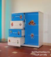 Tủ nhựa Đài Loan 1 cánh 4 ngăn T201 màu xanh