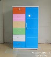 Tủ nhựa Đài Loan 1 cánh 6 ngăn T223 màu xanh