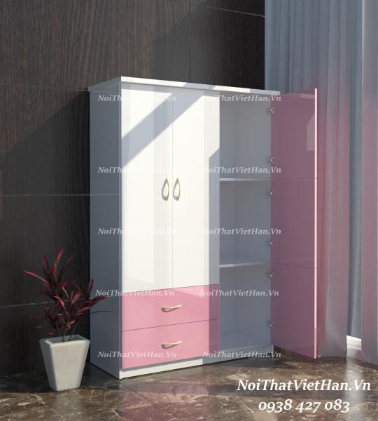 Tủ nhựa Đài Loan 3 cánh 2 ngăn T327 màu hồng