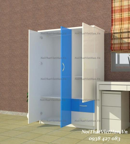 Tủ nhựa Đài Loan 3 cánh 2 ngăn T329 màu xanh