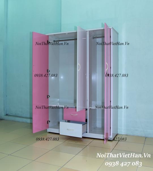 Tủ nhựa Đài Loan 3 cánh 2 ngăn C310 màu hồng trắng